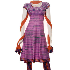 eSTYLe Pure Cotton Anarkali 3pce With Contrast Lavender Yoke