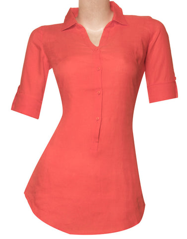 Neon Collection - Salmon Trendy Lenin Indo Western Short Kurta