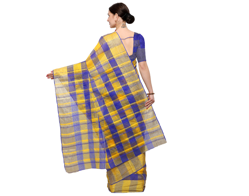 Blue 'N' Yellow Silk Cotton With Kota Doria Checked Saree