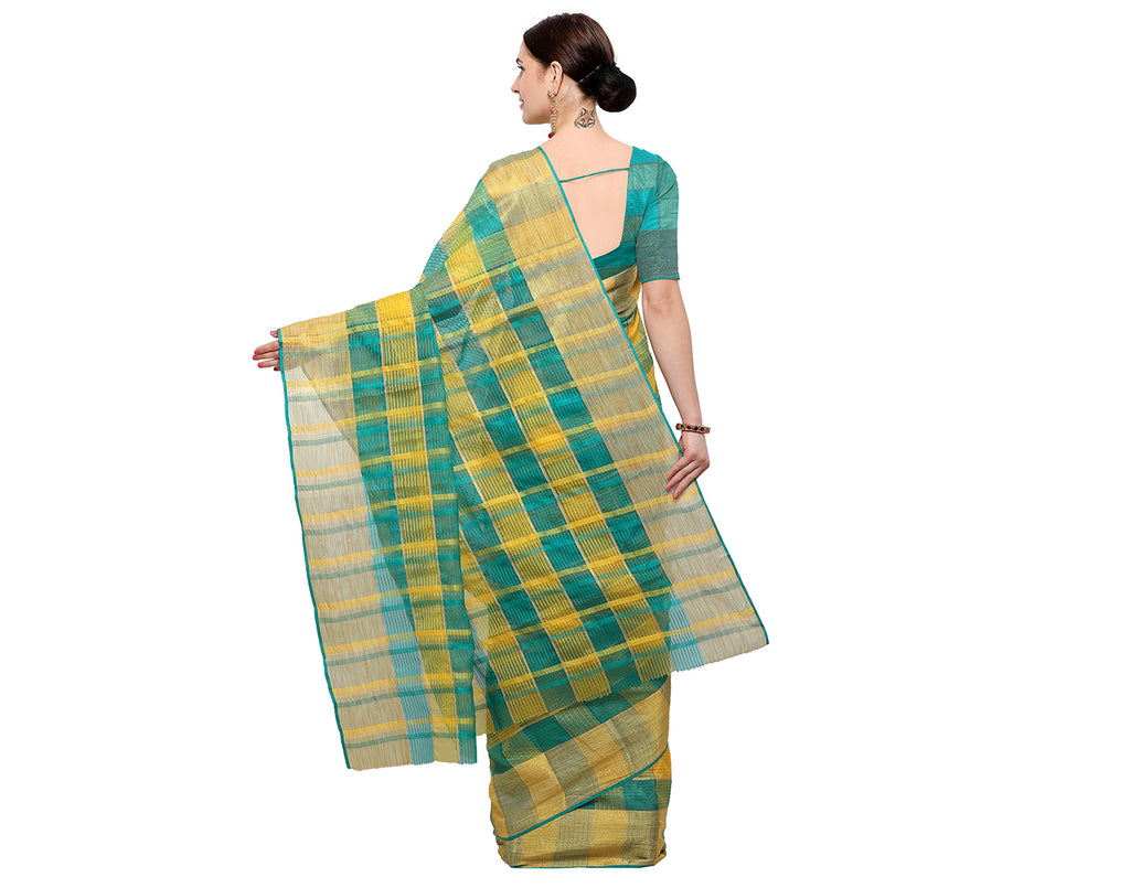 Green 'N' Yellow Silk Cotton With Kota Doria Checked Saree