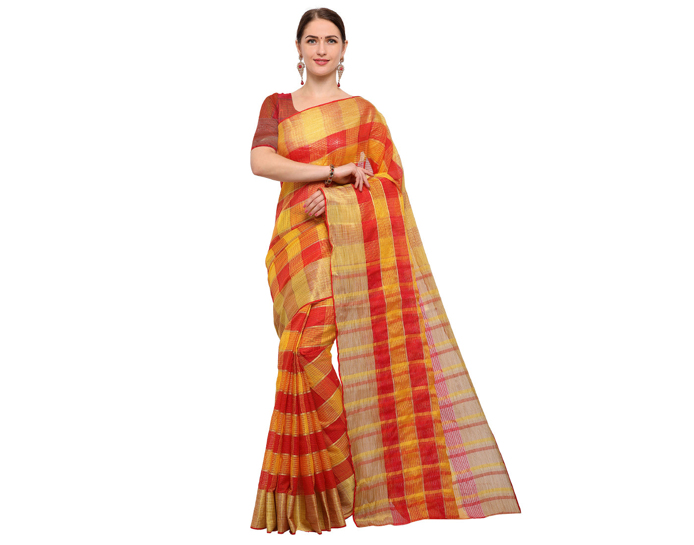 Red 'N' Yellow Silk Cotton With Kota Doria Checked Saree
