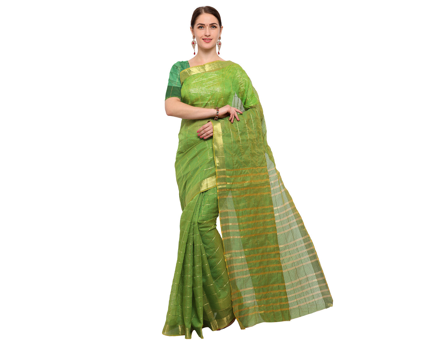 Green Silk Cotton Saree With Zari Border