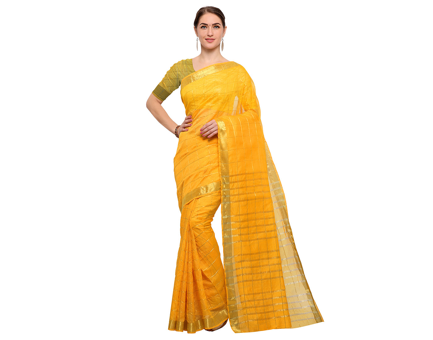 Yellow Silk Cotton Saree With Zari Border