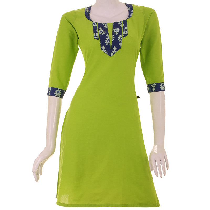 Casual Parrot Green Cotton Kurta From eSTYLe With Printed Yoke
