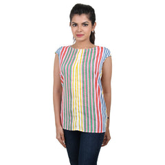 Western Tops - Multi Colour Striped Trendy Printed Rayon Tops