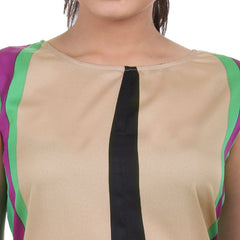 Western Tops - Beige Thick Striped Trendy Printed Rayon Tops