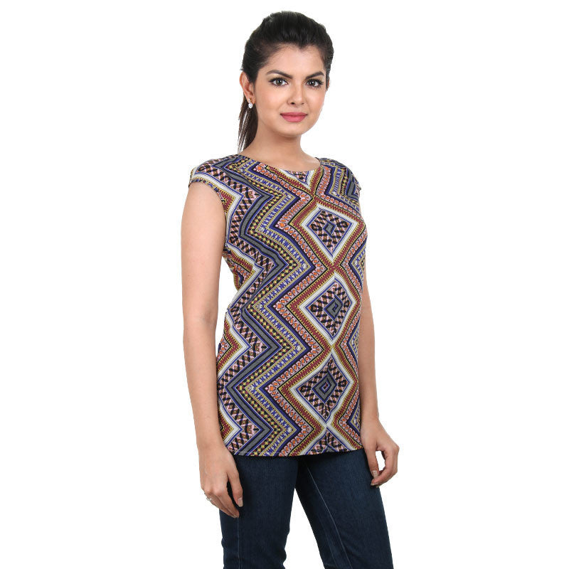Western Tops - Zig-Zag Multi Colour Trendy Printed Rayon Tops