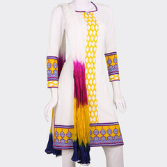 eSTYLe Bright White 3Pce Set With Blue 'N Yellow Prints Whith Chudi and Dupatta