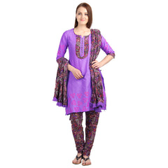 eSTYLe Dewbery Cotton Button Down 3Pce Set With Printed Chudi And Dupatta