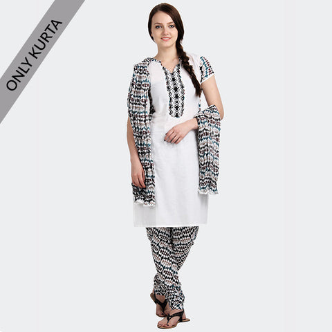 eSTYLe Bright White With Designer Neck and Printed Yoke And Sleeve