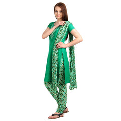 Jelly Bean Green Tri Arc 3Pce Set With Designer Neck With Chudi And Dupatta