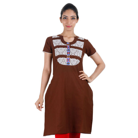 Casual Cotton Brown Kurta With Closed Collar