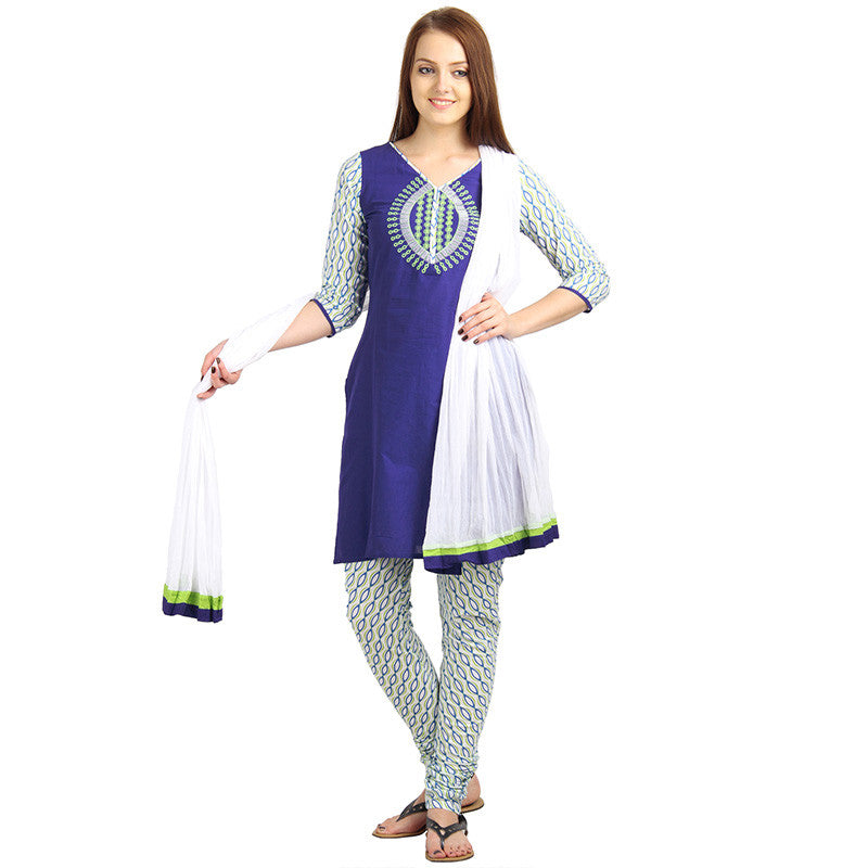 Dutch Blue 3Pce Set With Printed Chudi And Dupatta From eSTYLe