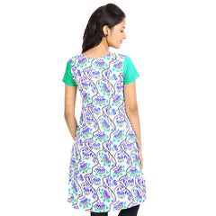 eSTYLe Aqua Green Floral Printed Cotton Kurta From eSTYLe