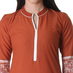 Red Clay Cotton Kurta With Chinese Collar From eSTYLe