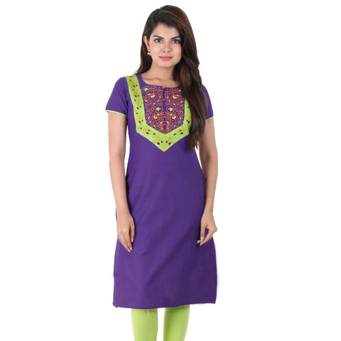 Gentian Violet Embroidered Cotton Kurta From eSTYLe