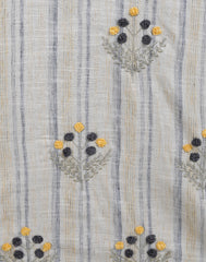 Beige Grey stripes kurta with embroidery and Grey Pants