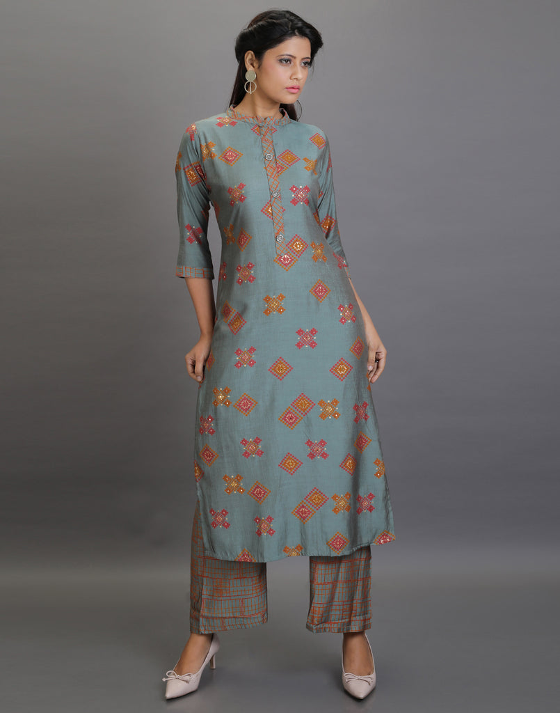 Green designer Kurta with Pallazo Pants