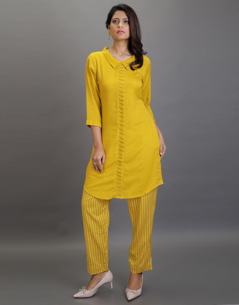 Mustard Short Kurta with stripes Pants - Indo western