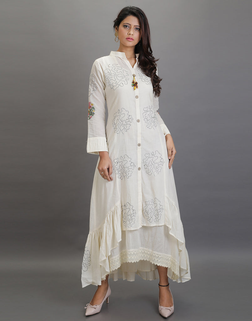 2 pc layered Indo western embroidery dress
