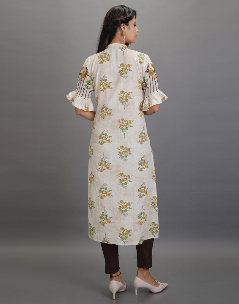 Floral Beige Kurta with Embroidered Sleeves and Dark Brown Pants