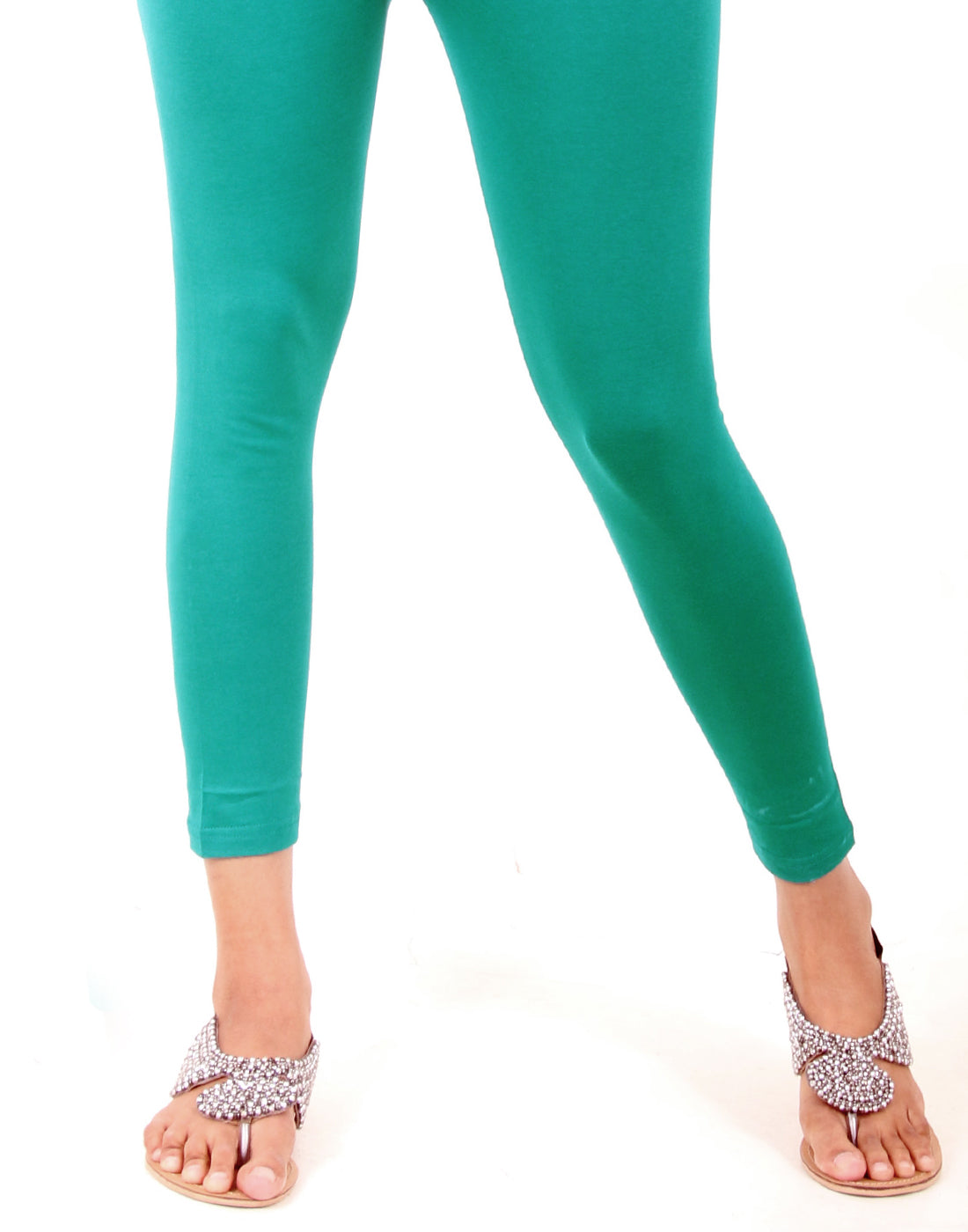 Deep Peacock Blue Ankle Leggings