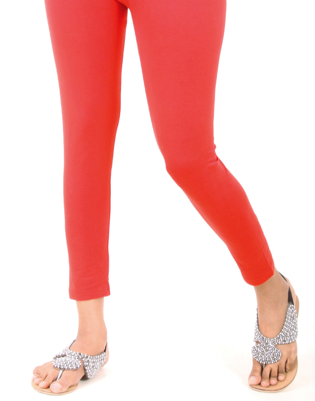 Fiery Red Ankle Leggings