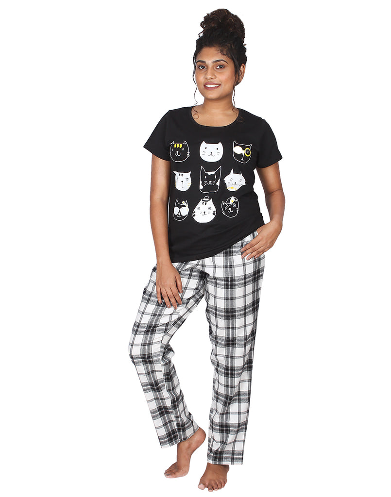 Black Cat Print PJ