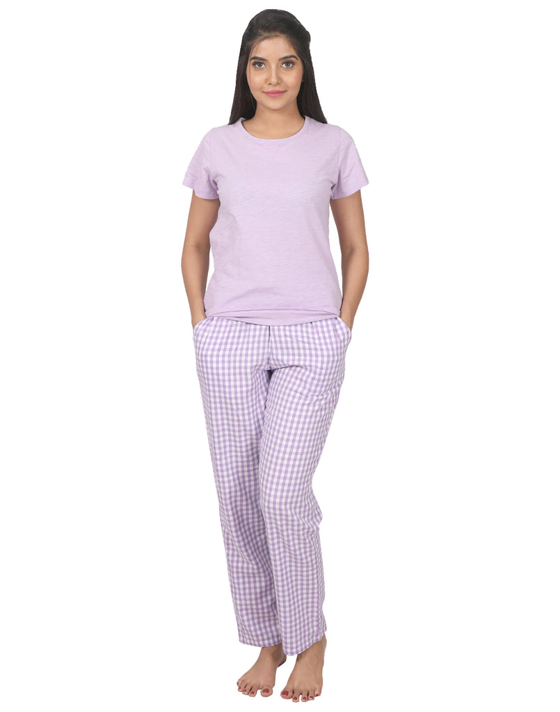 Lavender Gingham Checks PJ