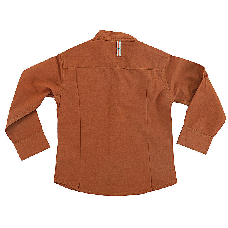 Biker Boys - Brown Full Sleeve Closed Collar Cotton Shirts