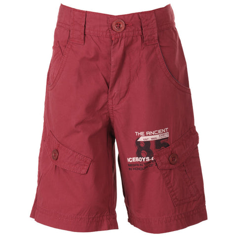 Ice Boys - Solid Dark Maroon Cotton Shorts For Boys