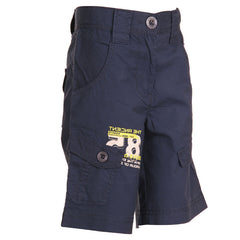Ice Boys - Solid Navy Blue Cotton Shorts For Boys