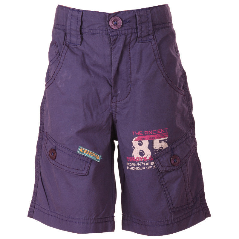 Ice Boys - Solid Purple Cotton Shorts For Boys
