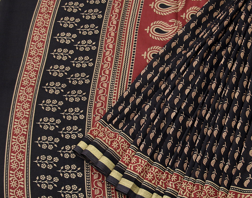 Black Chanderi Bagru Printed Saree