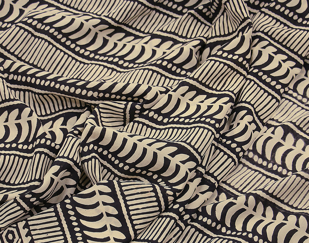 Cream 'N Black Assam Silk Cotton With Bagru Print