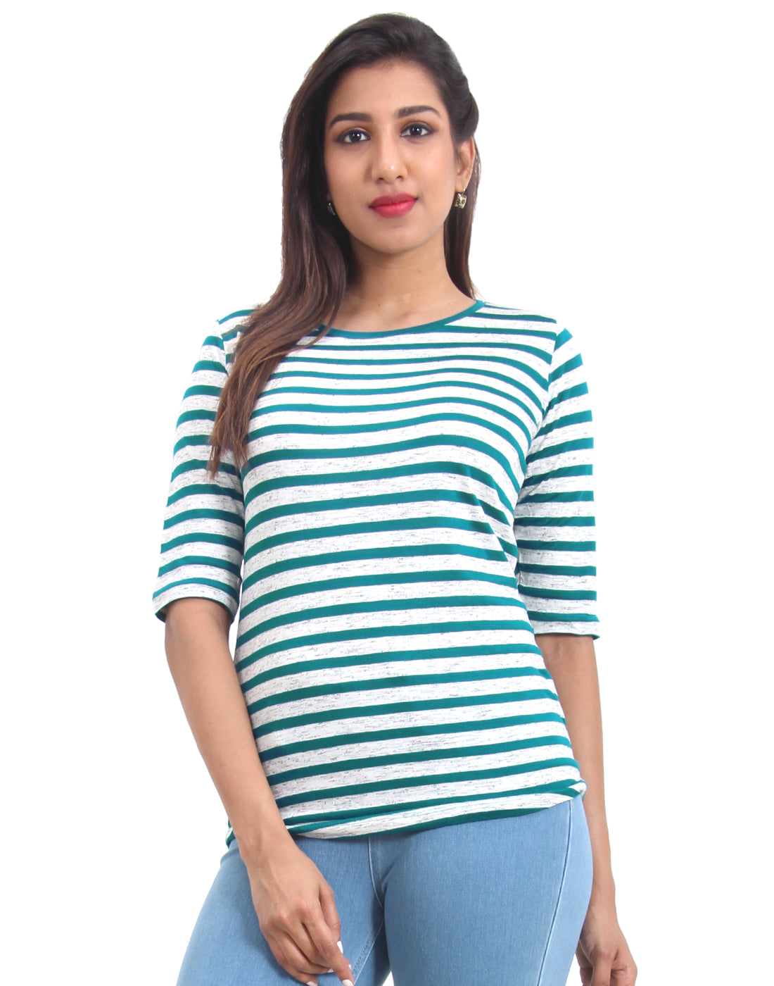 Teal Striped Knitted Women's T-shirt