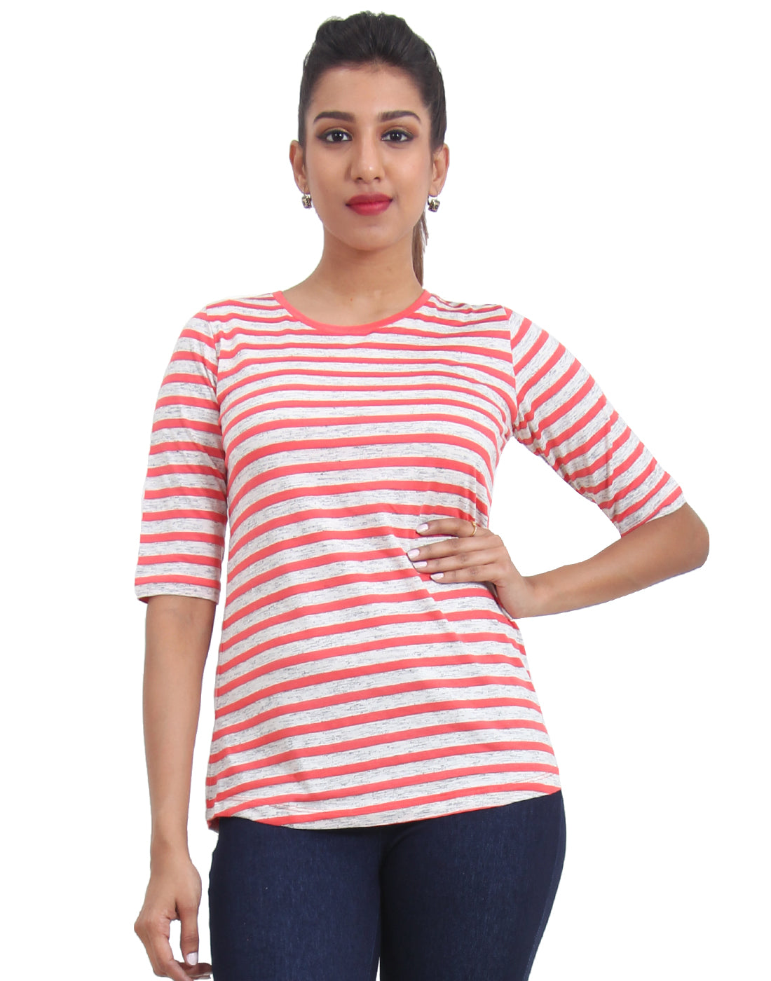 Peach Striped Knitted Women's T-shirt