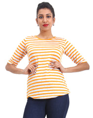 Mustard Striped Knitted Women's T-shirt