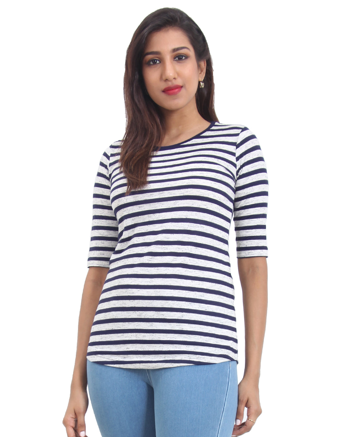 Navy Blue Striped Knitted Women's T-shirt