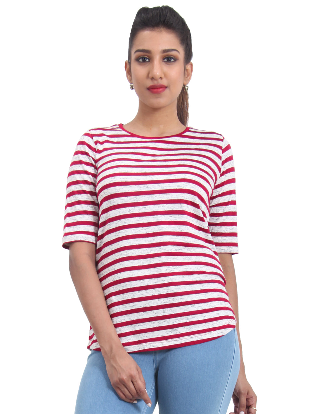 Red Striped Knitted Women's T-shirt