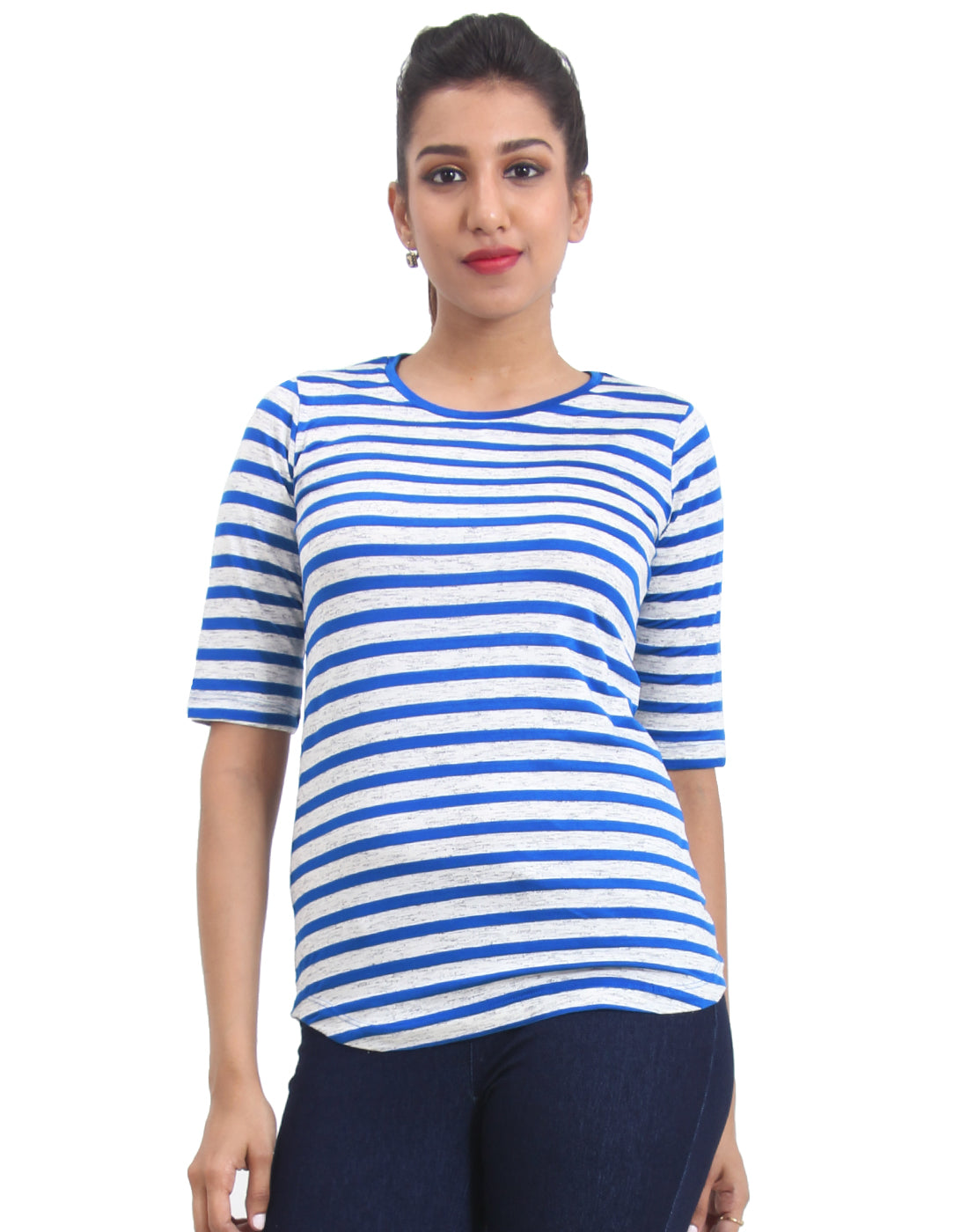 Blue Striped Knitted Women's T-shirt