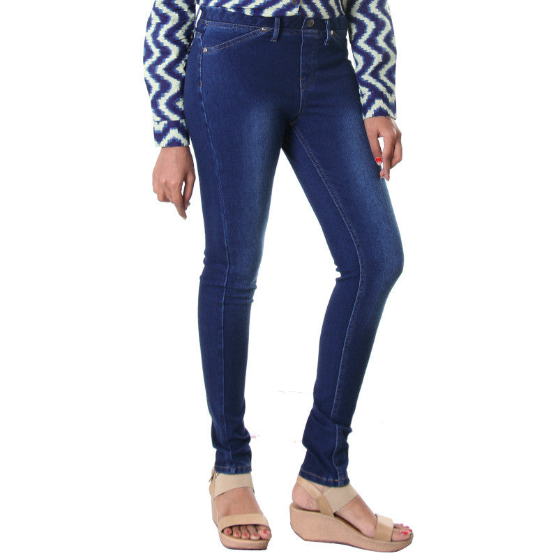 Patriot Blue Solid Pattern Jeggings From eSTYLe