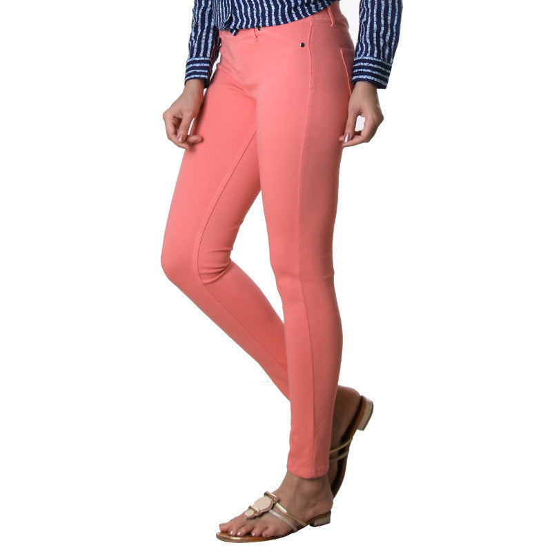 eSTYLe Lantana Peach Solid Stylish Jeggings.
