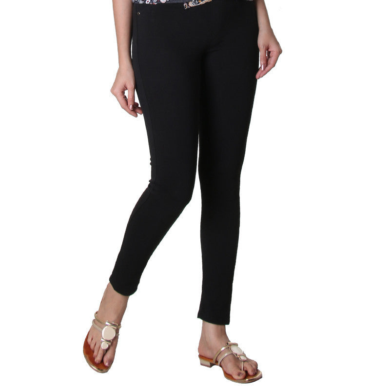 Jet Black Solid Trendy Jegging From eSTYLe