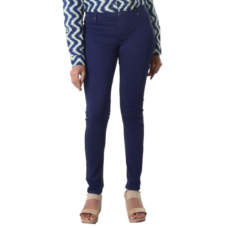 Medieval Blue Fusion Choice Solid Jeggings From eSTYLe
