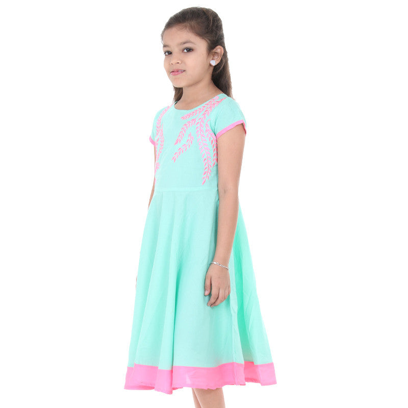 Apple Green Anarkali For Kids With Neon Embroidered Yoke