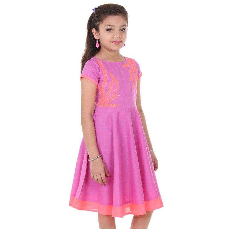 Lavender Bunch Anarkali For Kids With Neon Embroidered Yoke