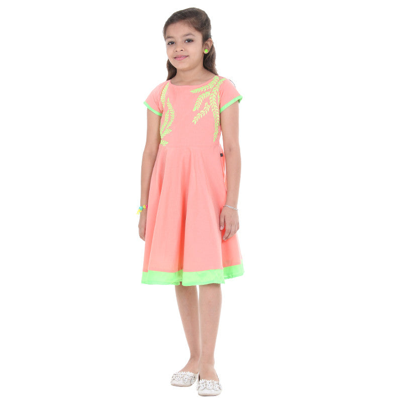 Cream Orange Anarkali For Kids With Neon Embroidered Yoke