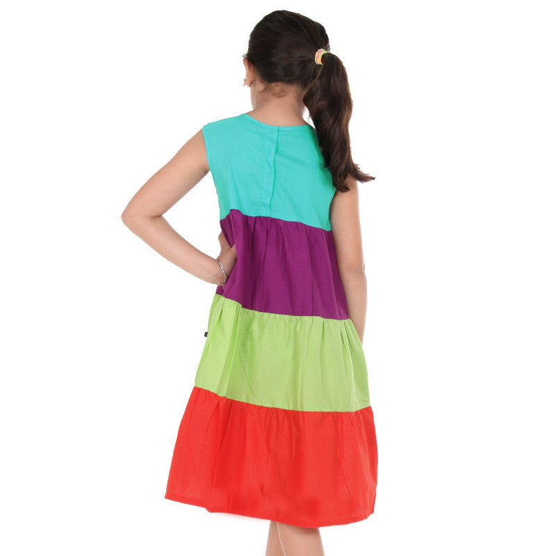 Multicolor Sleeveless Frock from eSTYLe For Kids
