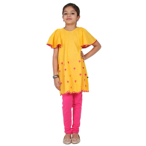 Daffodil Yellow Butterfly Sleeves Charmy Kids Frock From eSTYLe Girls